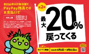 第2弾 がんばろう東村山!最大20%戻ってくるキャンペーン
